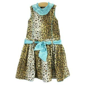 5 Trish Scully Leopard Faux Fur Dress Beaded Teal